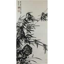 Ge Kun Chinese Ink Bamboo on Paer Scroll