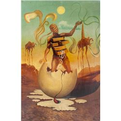 Spanish Surrealist Oil on Canvas Signed Dali