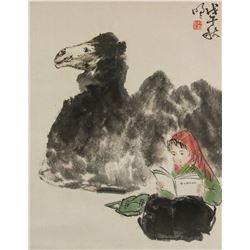 Wang Mingming b.1952 Chinese Watercolor Roll