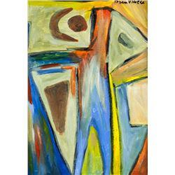 Dutch Abstract Oil on Canvas Signed Bram V. Valde