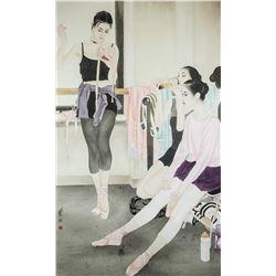 He Jiaying b.1957 Chinese Watercolor Ballerinas