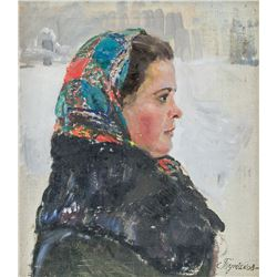 Artist Signed Russian Oil on Canvas Portrait