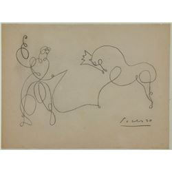 Spanish Cubist Graphite on Paper Signed Picasso