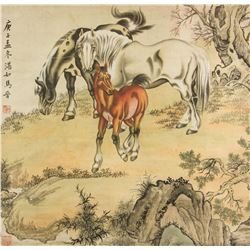 Ma Jin 1900-1970 Chinese Watercolor Paper Roll