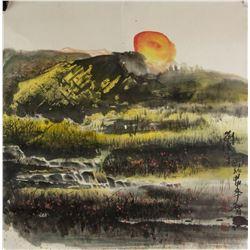 Liu Guangping b.1956 Chinese Watercolor Paper Roll