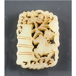Chinese White Hardstone Bamboo and Horse Pendant