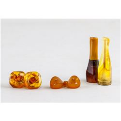 6 Assorted Chinese Amber Cufflink Earring Filters