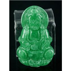 Chinese Green Jade Carved Guanyin Pendant