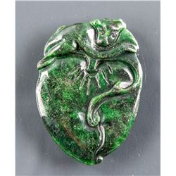 Burma Green Jadeite Carved Peach Pendant
