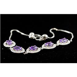 Sterling Silver Flexible Amethyst Bracelet RV $500