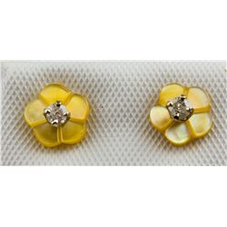 14K Yellow Gold 0.1 ct Diamond Earrings RV $400