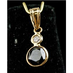 14K Yellow Gold Black Diamond Pendant CRV $1200