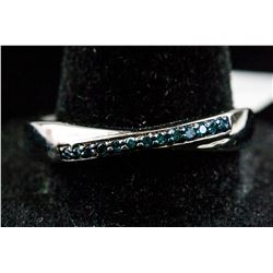 Sterling Silver Blue Diamond Ring RV $300