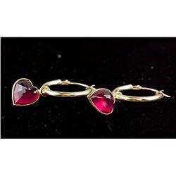 4.9 ct Ruby Yellow Gold Hoop Earrings CRV $1338