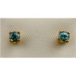 14K Yellow Gold Blue Zircon Earrings RV $120