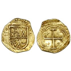 Bogota, Colombia, cob 2 escudos, Philip IV, assayer R below denomination II to left, mintmark NR to