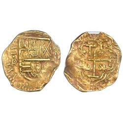 Bogota, Colombia, cob 2 escudos, Philip IV assayer R below denomination II to left, mintmark NR to r