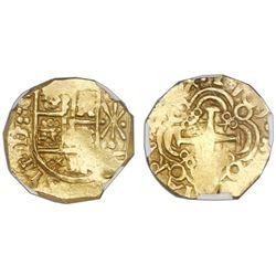 Bogota, Colombia, cob 2 escudos, 1709, no assayer (Arce), posthumous Charles II, NGC AU 55, ex-1715
