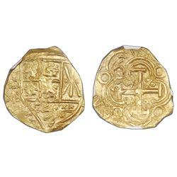 Bogota, Colombia, cob 2 escudos, posthumous Charles II, no assayer (Arce), NGC MS 63, ex-1715 Fleet,