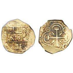 Bogota, Colombia, cob 2 escudos, posthumous Charles II, no assayer (Arce), NGC AU 53, ex-1715 Fleet