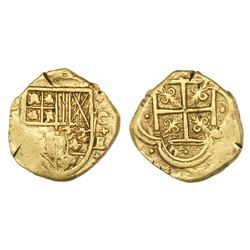 Cartagena, Colombia, cob 2 escudos, assayer E below mintmark C to right (style of 1630).