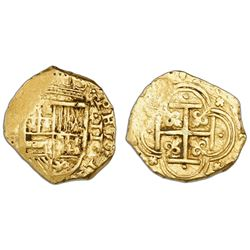 Cartagena, Colombia, cob 2 escudos, Philip IV, assayer E below mintmark C (not visible) to left (sty