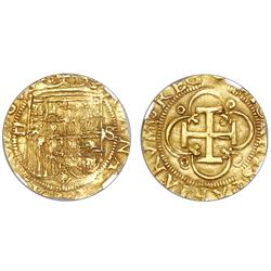 Seville, Spain, 1 escudo, Charles-Joanna, assayer Gothic D to left, NGC AU 58.