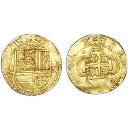 Seville, Spain, cob 2 escudos, Philip II, assayer Gothic D below mintmark S to left, NGC MS 64.