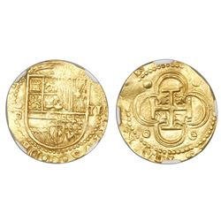 Seville, Spain, cob 2 escudos, Philip II, assayer Gothic D below mintmark S to left, NGC MS 62.