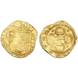 Seville, Spain, cob 2 escudos, 1595 date to right, assayer B below mintmark S and denomination II to