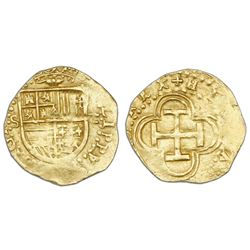 Seville, Spain, cob 1 escudo, Philip II, assayer Gothic D (with open right side) to right, mintmark