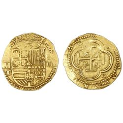 Toledo, Spain, cob 2 escudos, Philip II, assayer M above mintmark T to left.