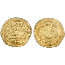Toledo, Spain, cob 2 escudos, Philip II, assayer M below mintmark oT to left, PCGS AU50.