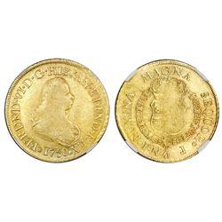Popayan, Colombia, bust 8 escudos, Ferdinand VI, 1758J, mintmark P.N, NGC VF 35.
