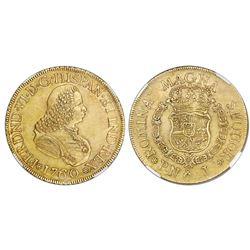 Popayan, Colombia, bust 8 escudos, Ferdinand VI, 1760J, mintmark P.N, NGC AU 58.