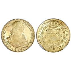 Popayan, Colombia, bust 8 escudos, Ferdinand VII (bust of Charles IV), 1816FR, mintmark PN., no dot