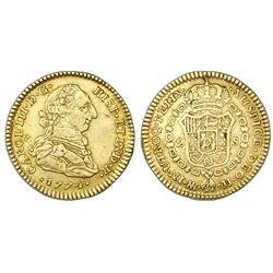 Bogota, Colombia, bust 2 escudos, Charles III, 1774JJ/VJ.