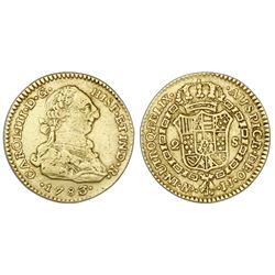 Bogota, Colombia, bust 2 escudos, Charles III, 1783/2JJ.