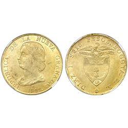 Bogota, Colombia, 16 pesos, 1843RS, encapsulated NGC MS 61.