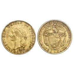 Popayan, Colombia, 10 pesos, 1864, NGC XF 40.