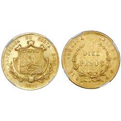 San Jose, Costa Rica, 10 pesos, 1870GW, NGC AU 55.