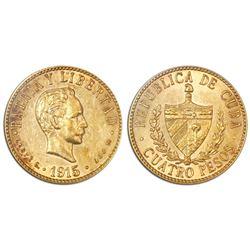 Cuba (struck at the Philadelphia mint), 4 pesos, 1915, PCGS AU55.