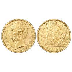 Danish West Indies, 4 daler / 20 francs, Christian IX, 1905.