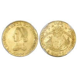 Quito, Ecuador, 4 escudos, 1836FP, NGC AU details / rim repair / cleaned.