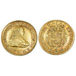 Mexico City, Mexico, bust 8 escudos, Ferdinand VI, 1751MF.