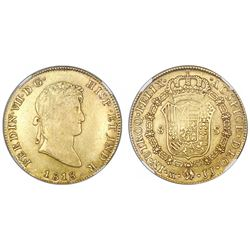 Mexico City, Mexico, bust 8 escudos, Ferdinand VII, 1818/7JJ, NGC XF 45.