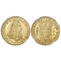 Mexico City, Mexico, bust 4 escudos, Philip V, 1740/30MF, rare, NGC AU 53.