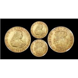Mexico City, Mexico, bust 4 escudos, Ferdinand VI, 1748MF, very rare, NGC AU 53.