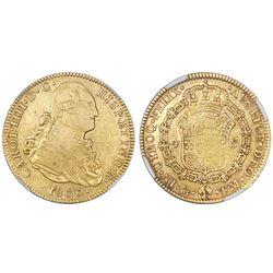 Mexico City, Mexico, bust 4 escudos, Charles IV, 1800FM, NGC XF 45.