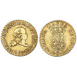 Mexico City, Mexico, bust 2 escudos, Ferdinand VI, 1756MM.